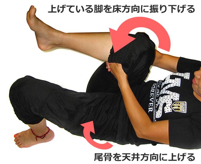 あげている脚を床方向に振り下げる
